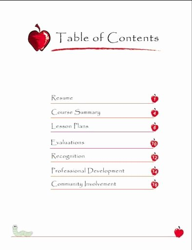 Portfolio Table Of Contents Template Lovely Teaching Portfolio Table Of Contents