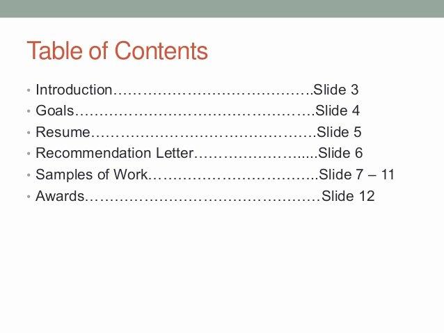 Portfolio Table Of Contents Template New Nick Kwas Portfolio