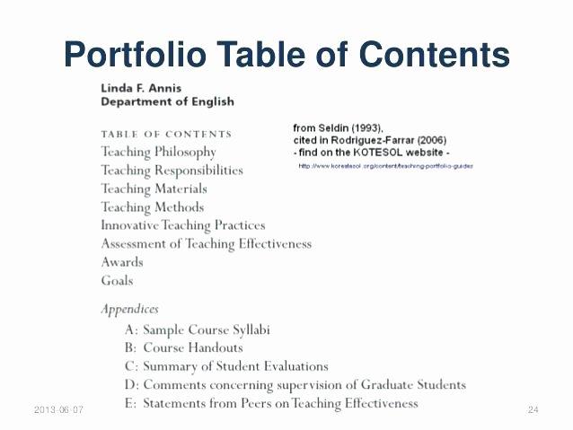 Portfolio Table Of Contents Template Unique Teaching Portfolio Table Contents Template – Argose