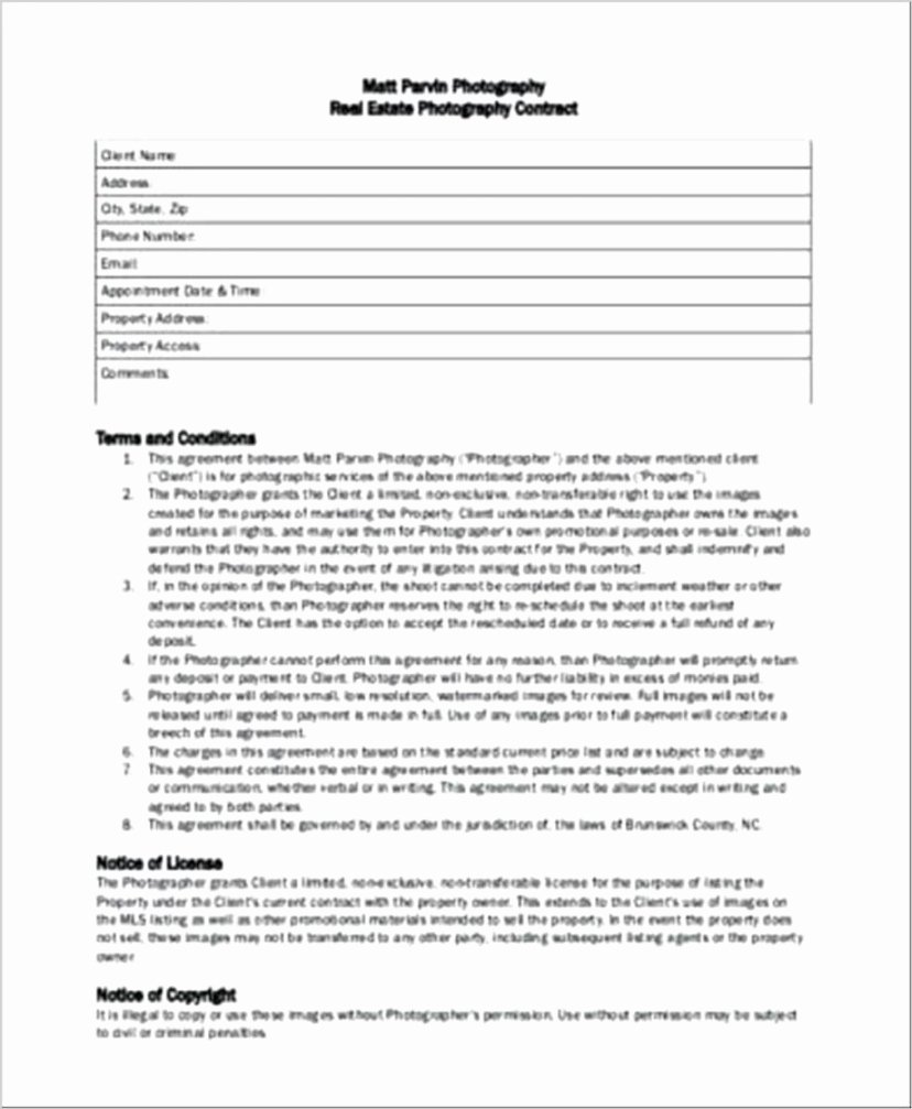 Portrait Photography Contract Template Awesome Headshot Graphy Contract Template