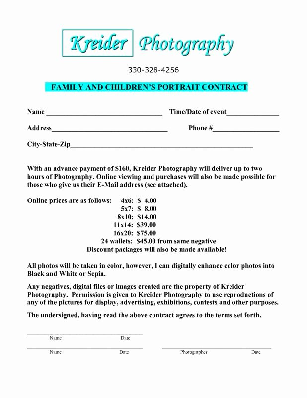 Portrait Photography Contract Template Best Of Eviction Letter Sample