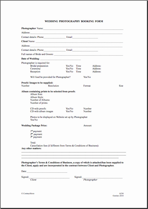 Portrait Photography Contract Template Best Of Free Printable Wedding Graphy Contract Template form