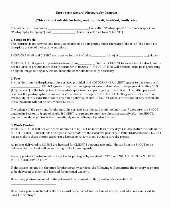 Portrait Photography Contract Template Best Of Graphy Contract Example 11 Free Word Pdf Documents