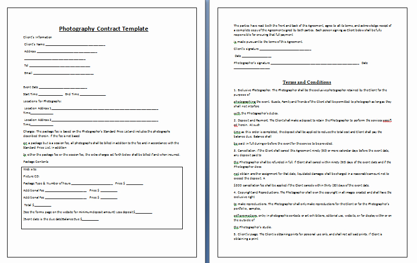 Portrait Photography Contract Template Best Of Graphy Contract Template