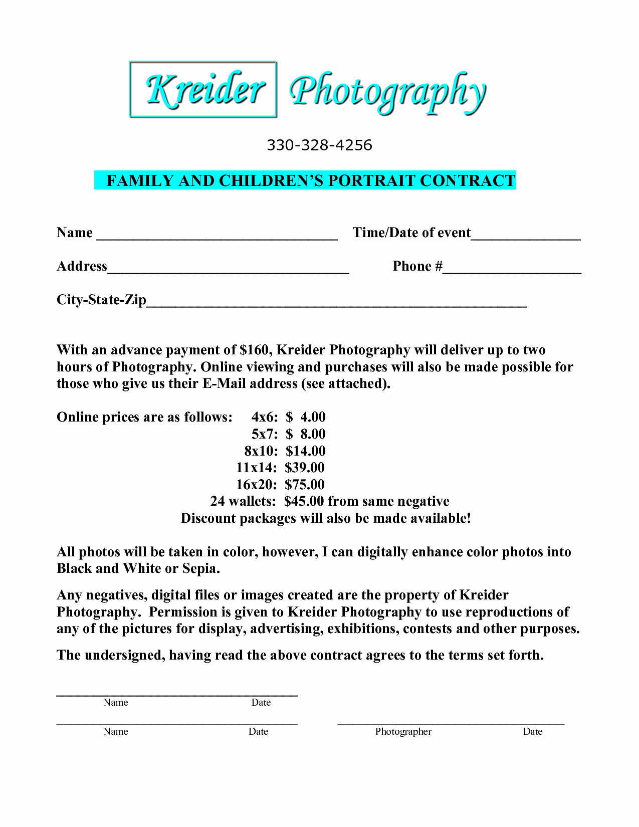 Portrait Photography Contract Template Elegant Portrait Graphy Contract Template Free Printable