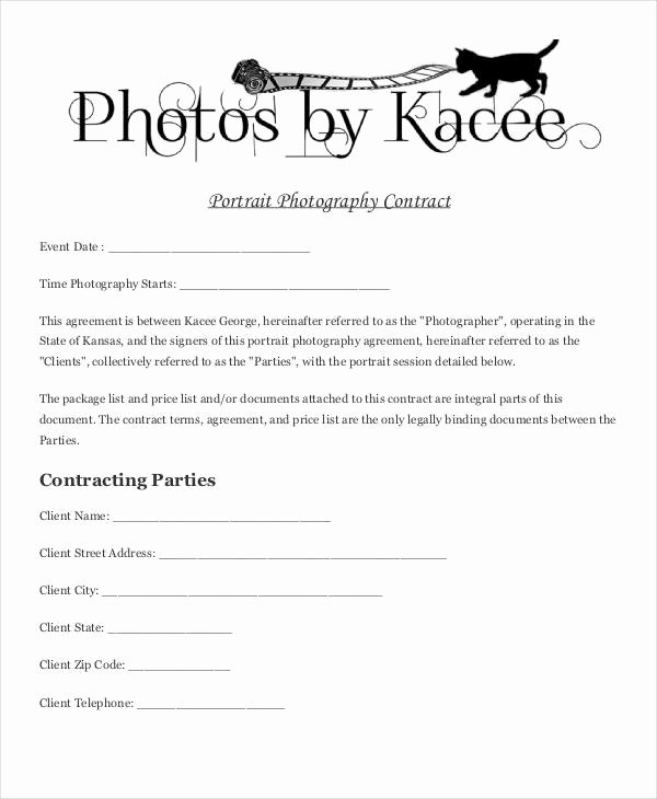 Portrait Photography Contract Template Fresh 49 Basic Contract Templates