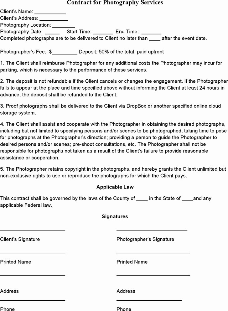 Portrait Photography Contract Template Fresh event Graphy Contract Templates Templates Resume