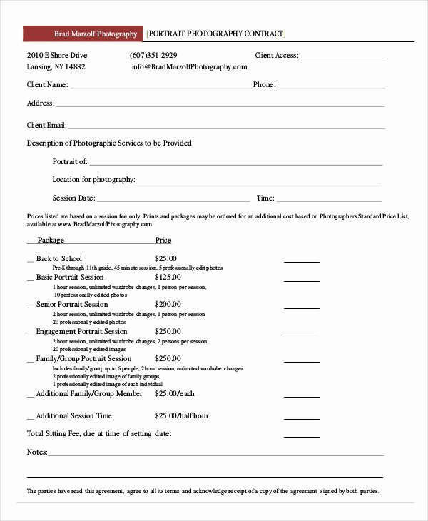 Portrait Photography Contract Template Inspirational Graphy Contract Example 11 Free Word Pdf Documents