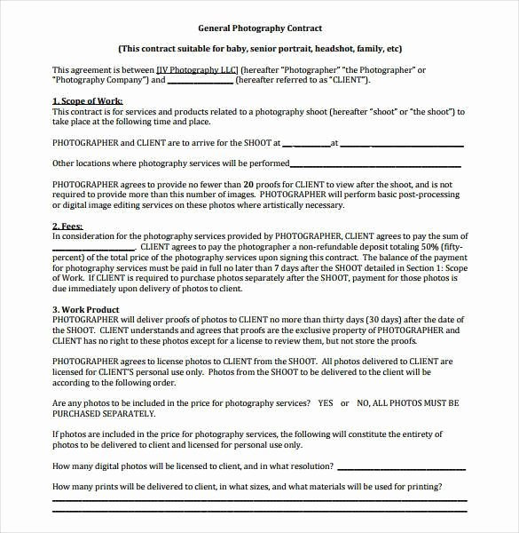 Portrait Photography Contract Template Lovely 20 Graphy Contract Template