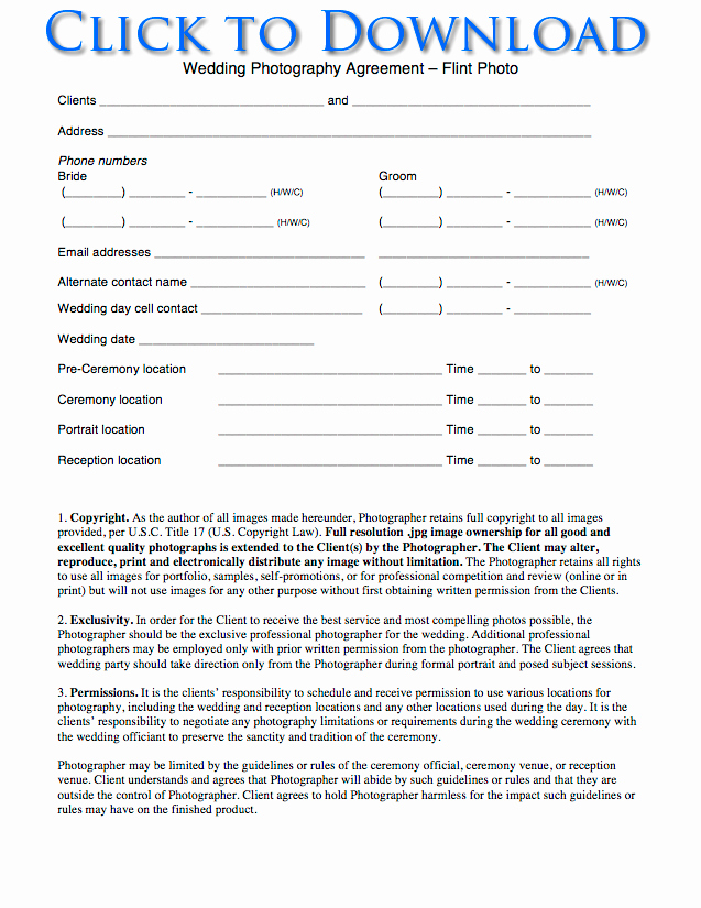 Portrait Photography Contract Template Lovely Free Wedding Graphy Contract forms