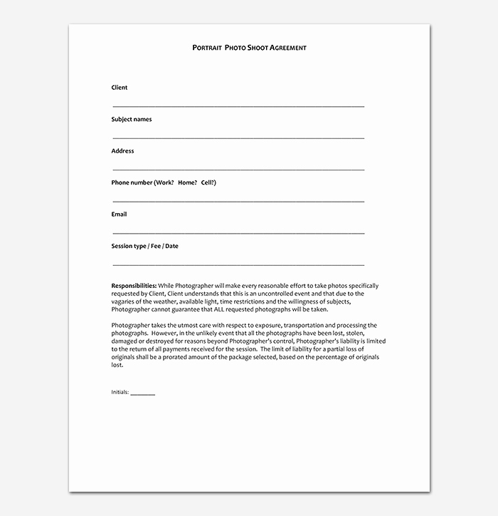 Portrait Photography Contract Template Lovely Graphy Contract Template 40 Free In Word Pdf