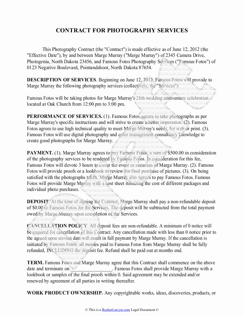Portrait Photography Contract Template Lovely Graphy Contract Template Free Sample for Wedding