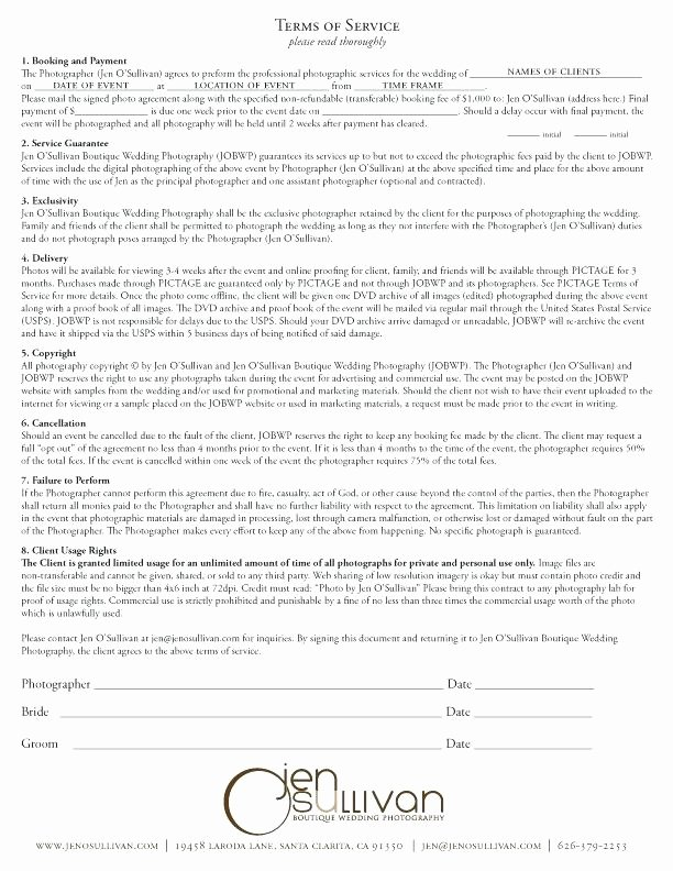 Portrait Photography Contract Template Lovely Wedding Grapher Contract Template Uk Simple Portrait