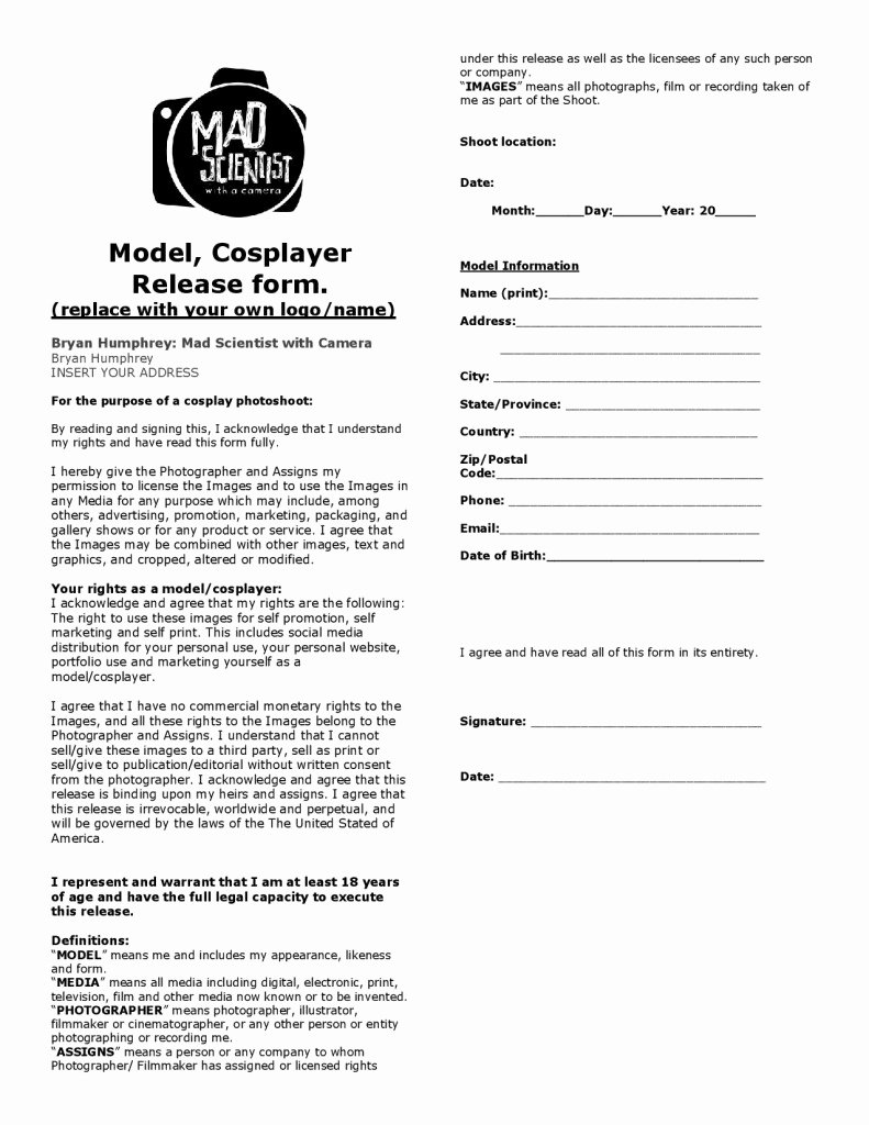 Portrait Photography Contract Template Luxury 3 4 Portrait Photography Contract Template