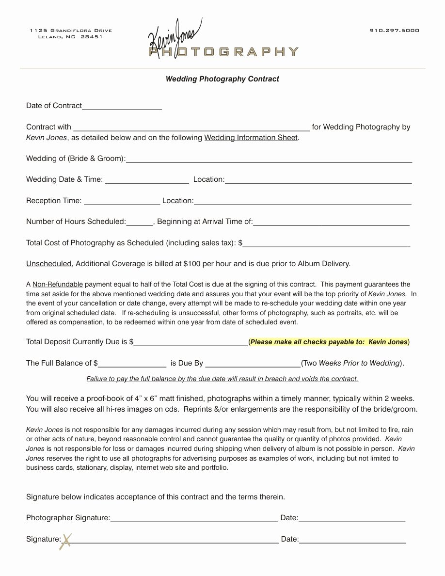 Portrait Photography Contract Template Luxury Graphy Contract Template