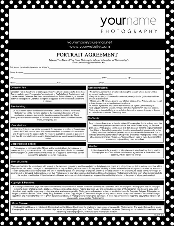 Portrait Photography Contract Template Luxury Graphy forms Portrait Agreement Contract and Model