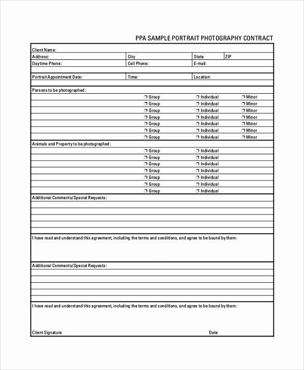 Portrait Photography Contract Template New 7 Sample Graphy Contracts – Pdf Doc