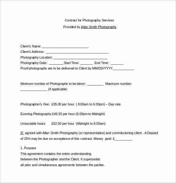 Portrait Photography Contract Template Unique 13 Graphy Contract Templates – Pdf Word Pages