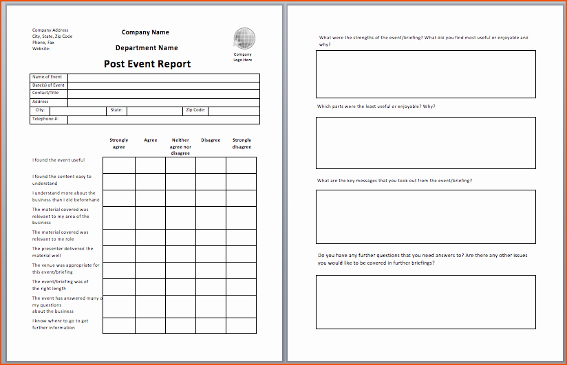 Post event Report Template Beautiful Daily Report Template
