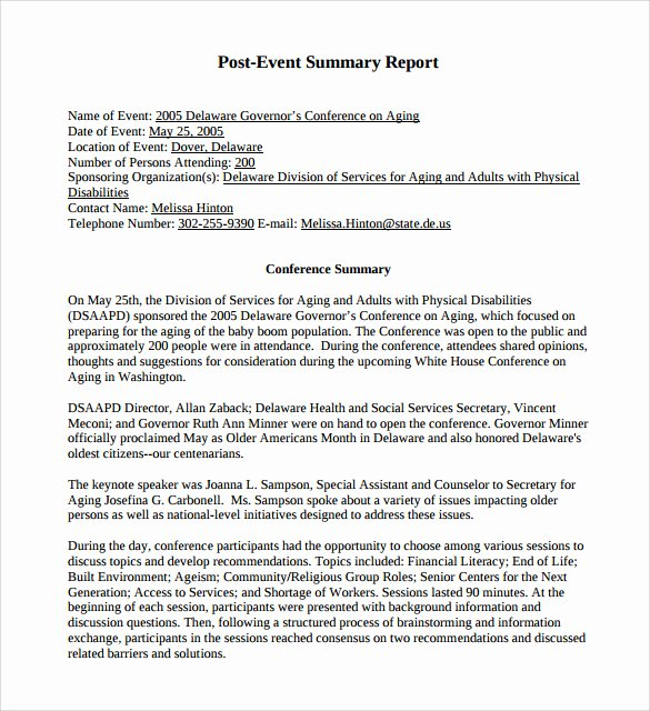 Post event Report Template Unique 9 Summary Report Templates – Samples Examples & format