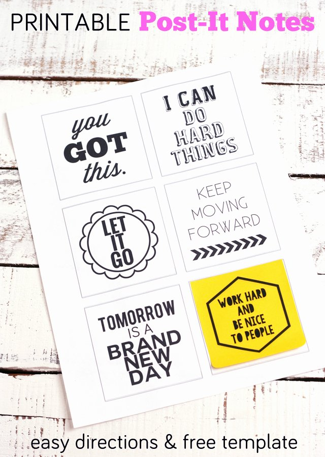Post It Note Printing Template Beautiful Post It Note Printables You Got This My Sister S