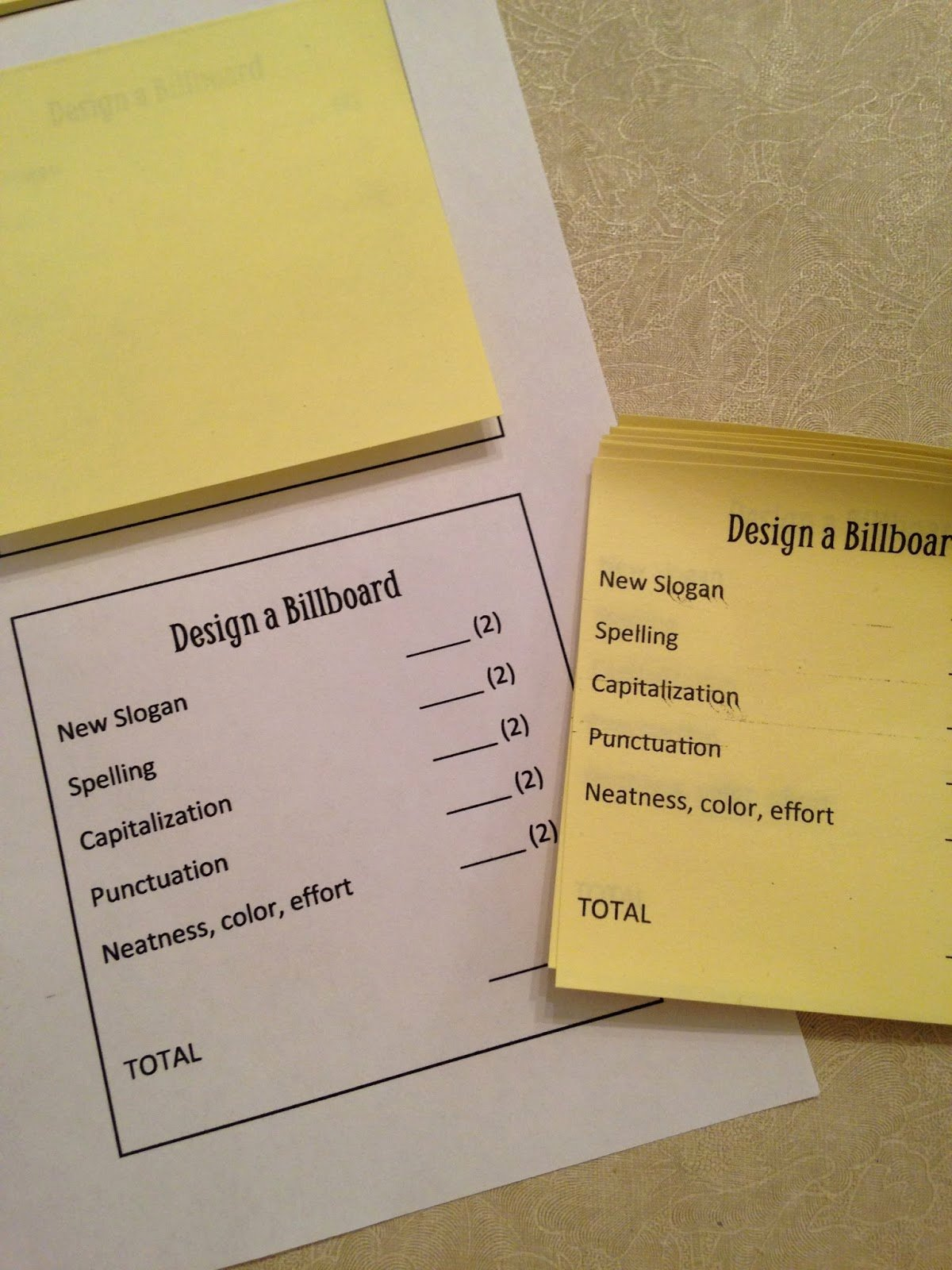 Post It Note Printing Template Inspirational Lesson Deli Mini Post It Rubrics