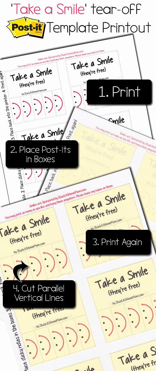"Post It Print Template Beautiful ""take A Smile"" Post It Note Template Printout Postit"