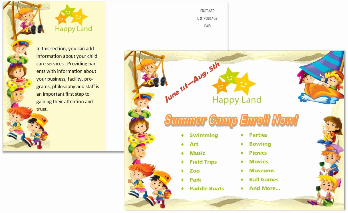 Postcard Template Front and Back Best Of Child Care Postcards