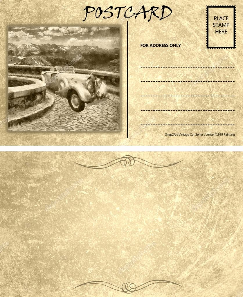 Postcard Template Front and Back Inspirational Vintage Empty Blank Motor Car Postcard Template Front Back
