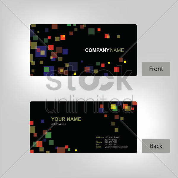 Postcard Template Front and Back Lovely Front and Back Business Card Template Vector Image