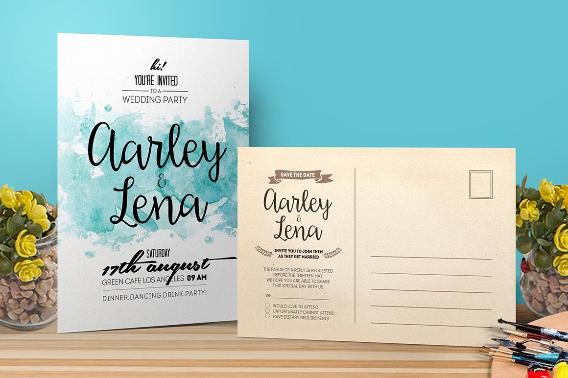 Postcard Wedding Invitations Template Awesome Watercolor Wedding Invitation Postcard Templates