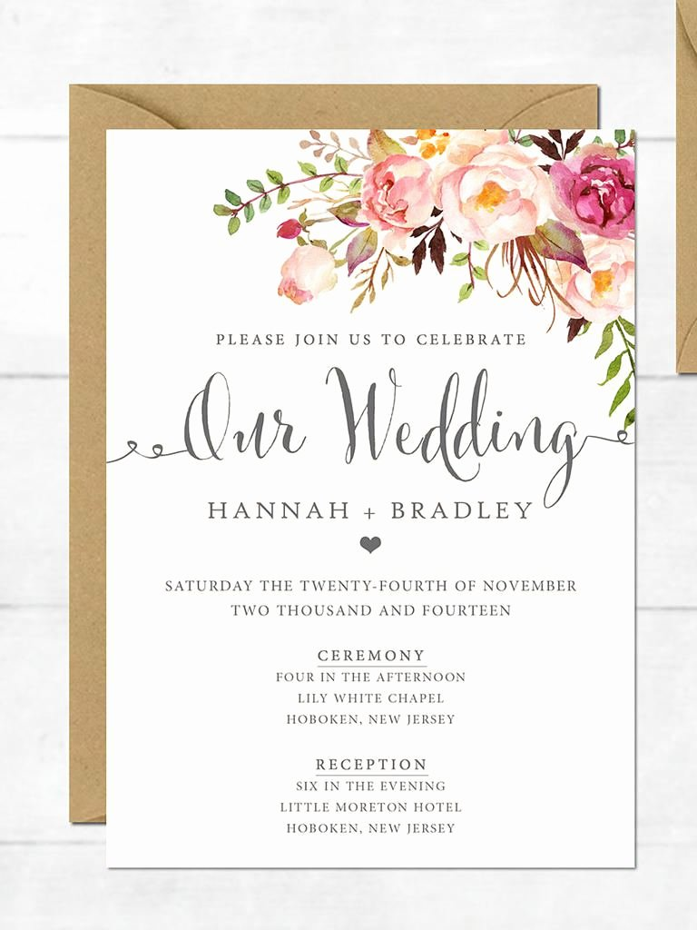Postcard Wedding Invitations Template Awesome Wedding Invitation Printable Wedding Invitation