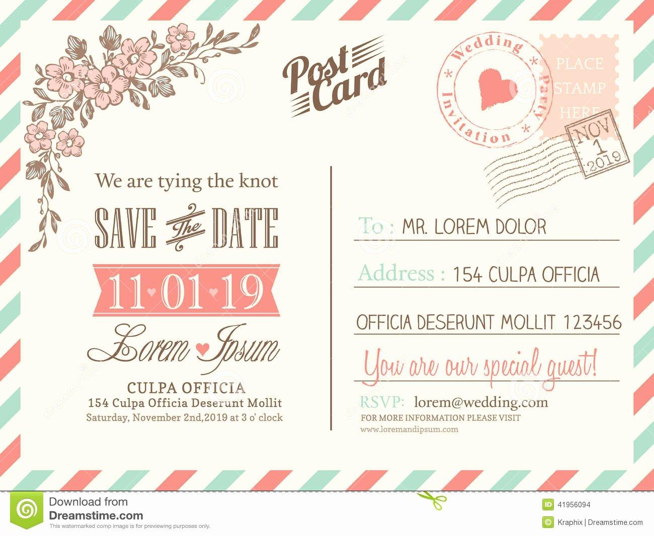 Postcard Wedding Invitations Template Beautiful Vintage Postcard Background for Wedding Invitation Stock