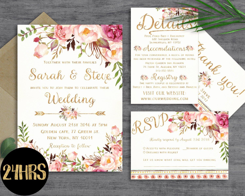 Postcard Wedding Invitations Template Best Of Floral Wedding Invitation Template Wedding Invitation