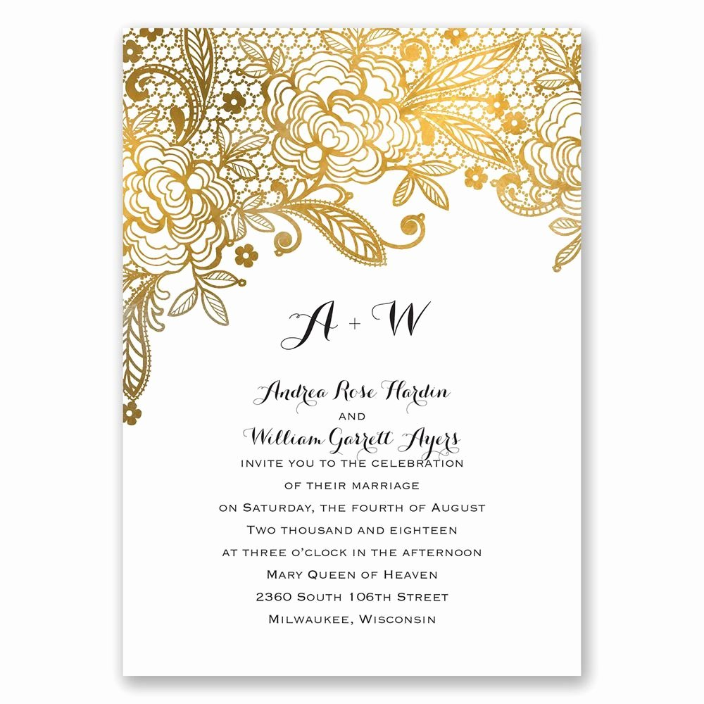 Postcard Wedding Invitations Template Best Of Gold Lace Invitation with Free Response Postcard