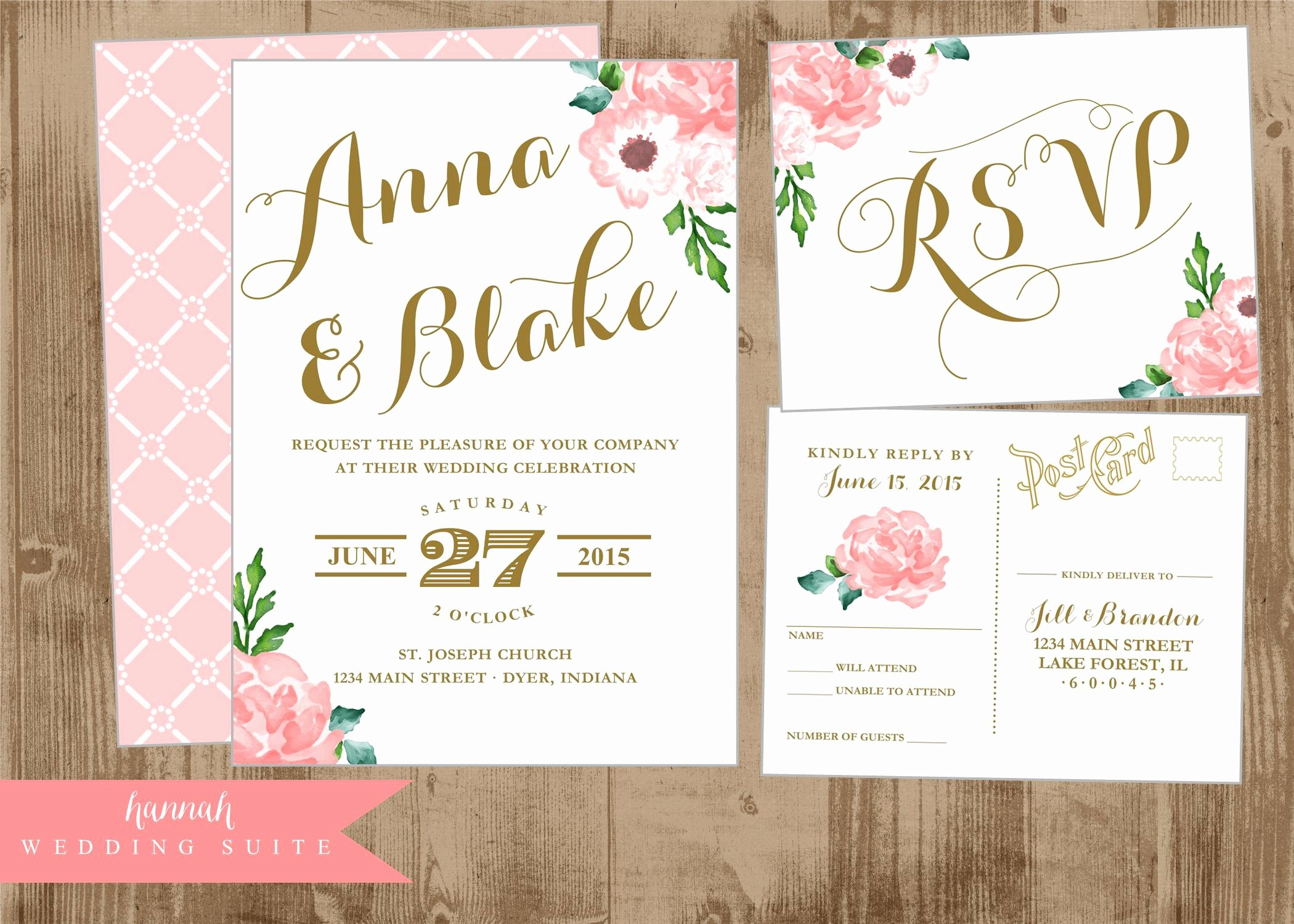 Postcard Wedding Invitations Template Best Of Printable Wedding Invitation Suite Pink and Gold Vintage