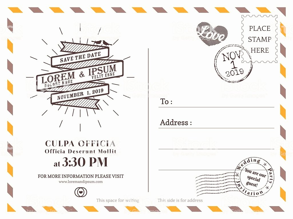 Postcard Wedding Invitations Template Best Of Vintage Postcard Background Vector Template for Wedding