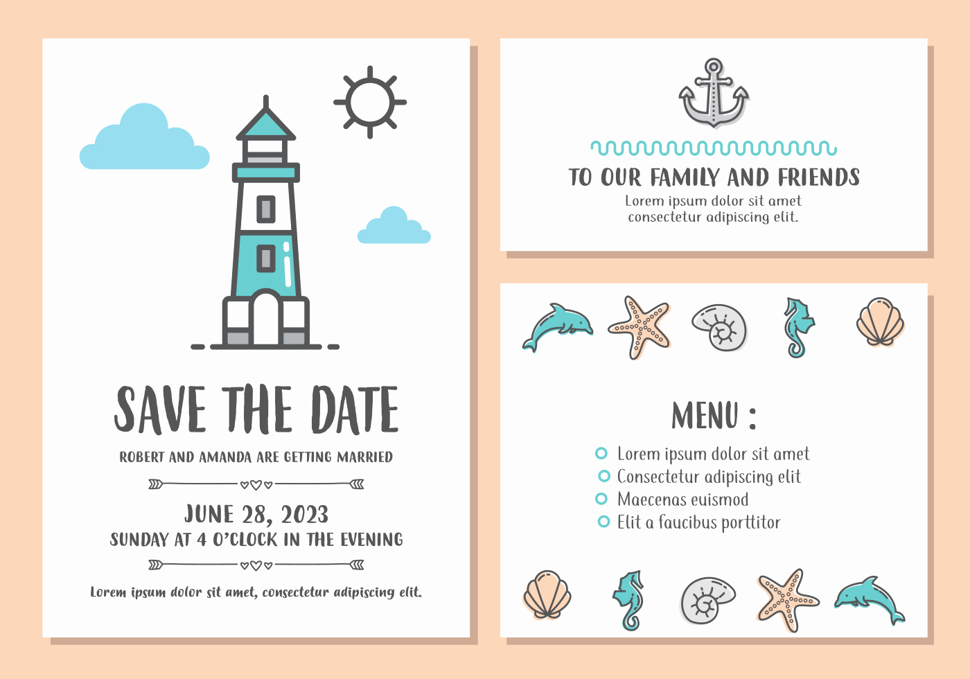 Postcard Wedding Invitations Template Elegant Beach Wedding Invitation Card Template Download Free