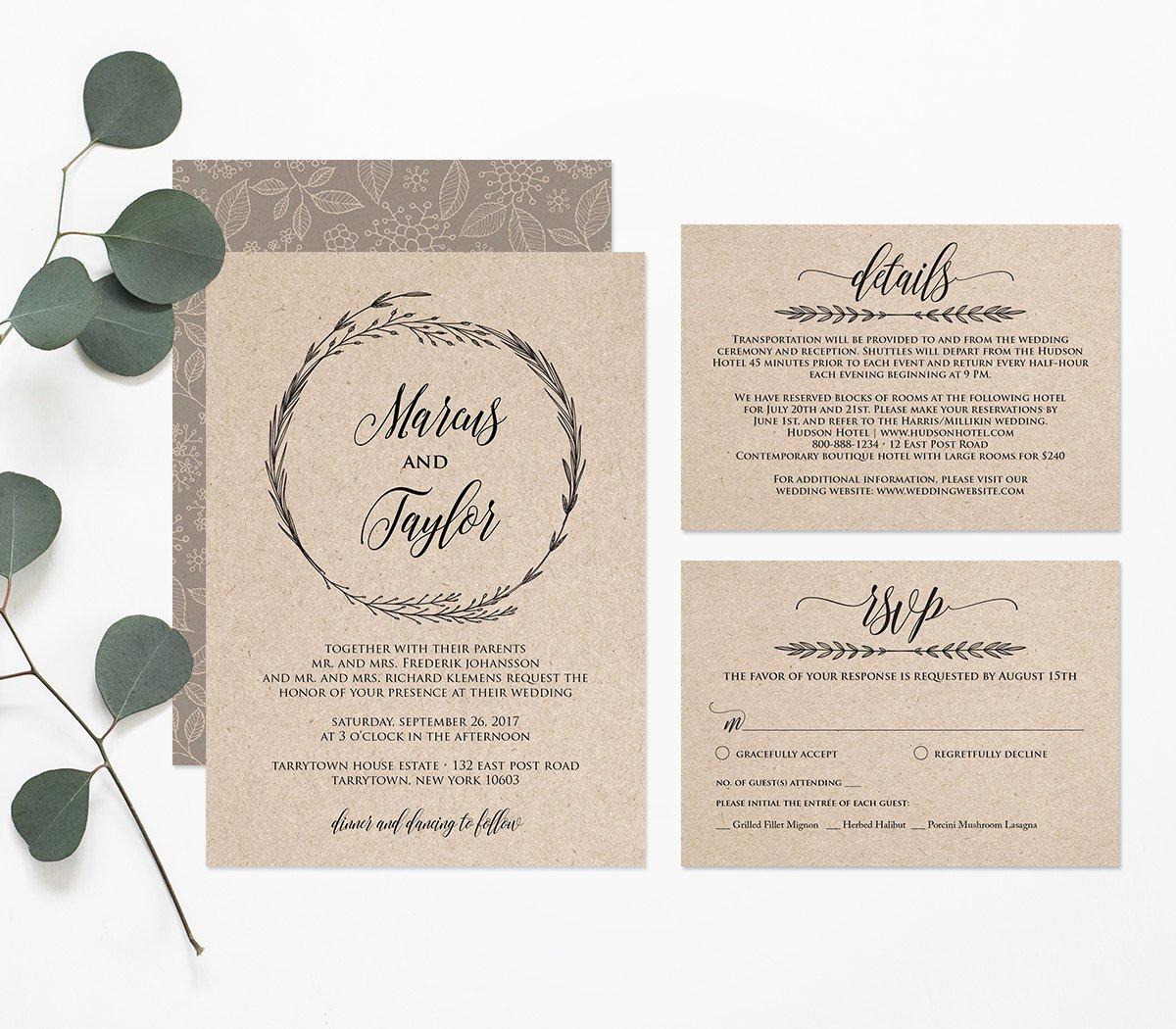 Postcard Wedding Invitations Template Elegant Printable Wedding Invitation Template Rustic Wreath
