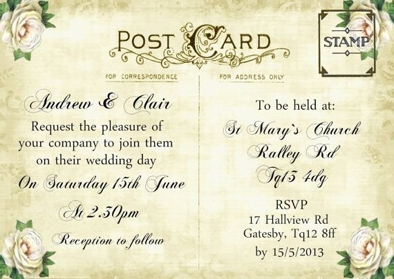 Postcard Wedding Invitations Template Fresh 12 Best Images About Postcard Invite On Pinterest