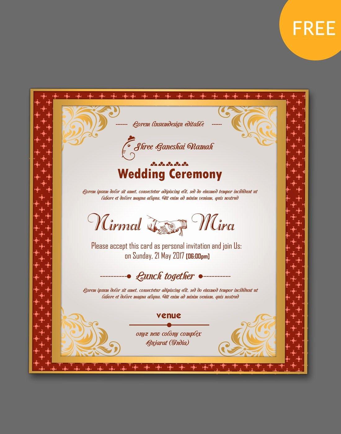 Postcard Wedding Invitations Template Fresh 20 Fresh Indian Wedding Invitation Card Template Editable