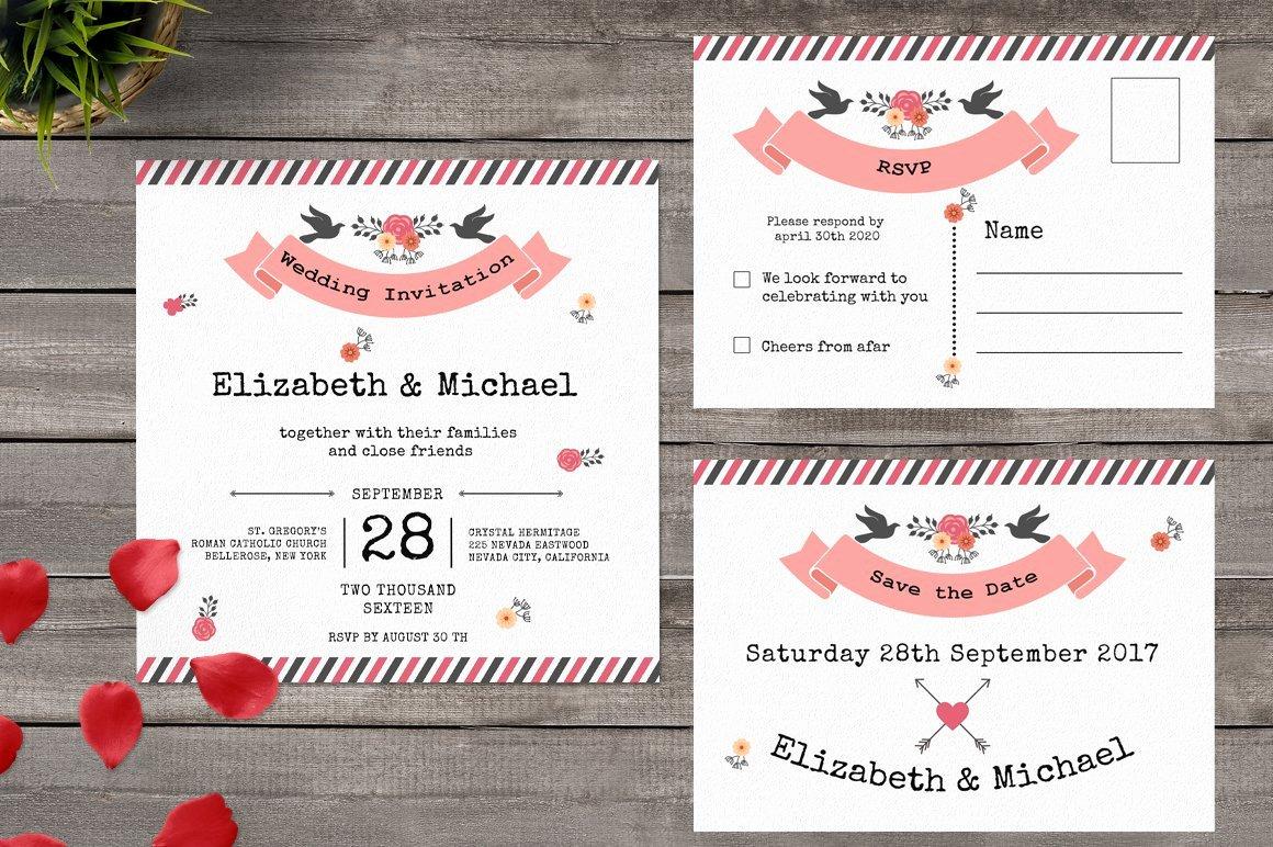 Postcard Wedding Invitations Template Inspirational Postcard Wedding Invitation Wedding Templates Creative