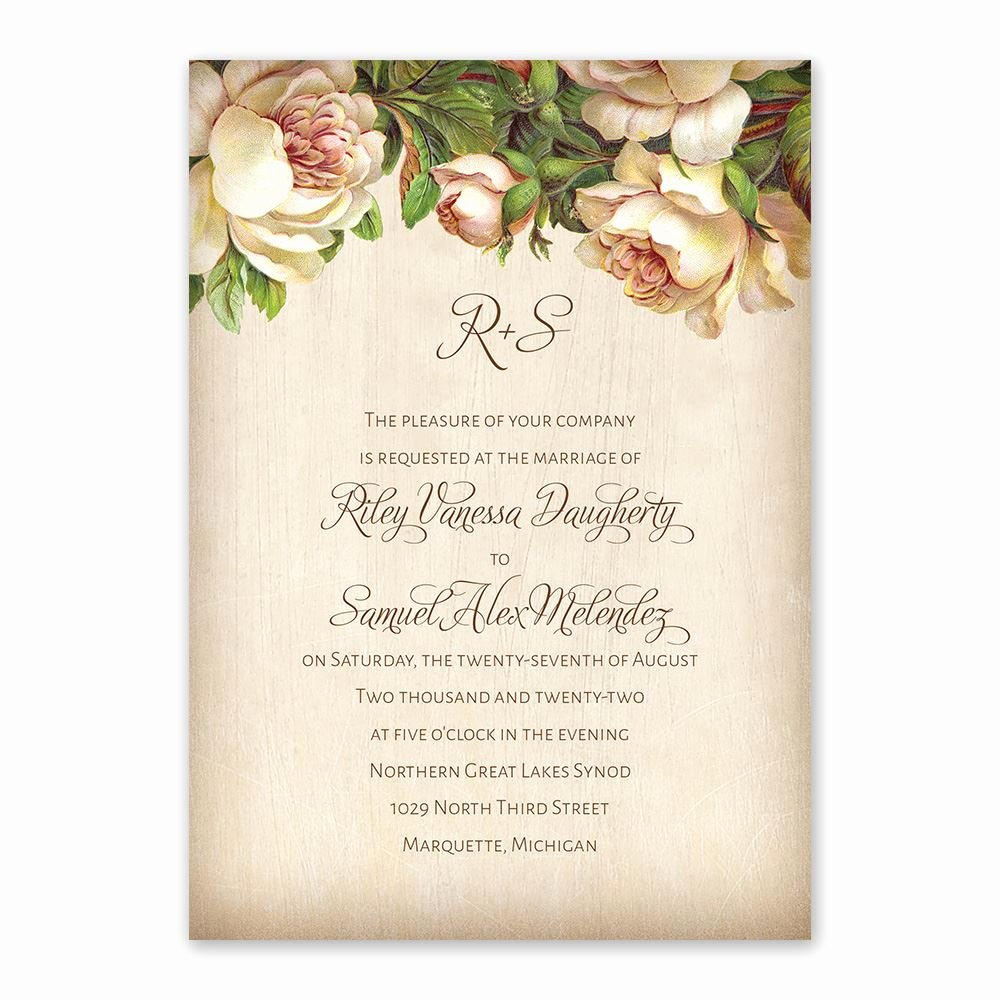 Postcard Wedding Invitations Template Lovely Antique Rose Invitation with Free Response Postcard