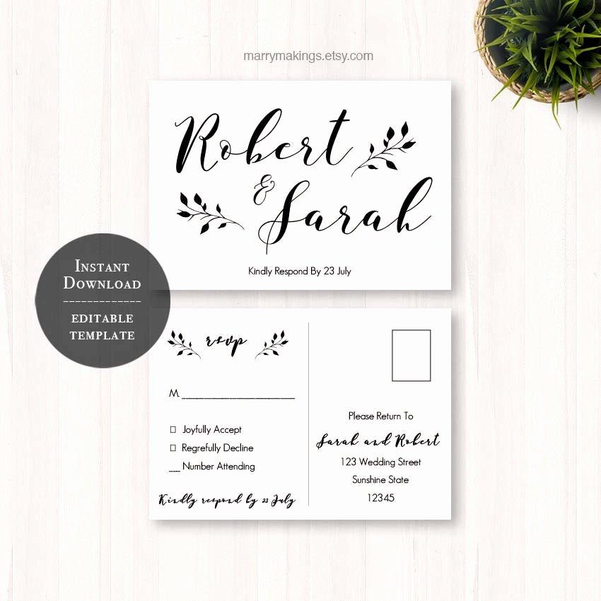 Postcard Wedding Invitations Template Luxury Diy Wedding Rsvp Rsvp Template Wedding Printable Wedding