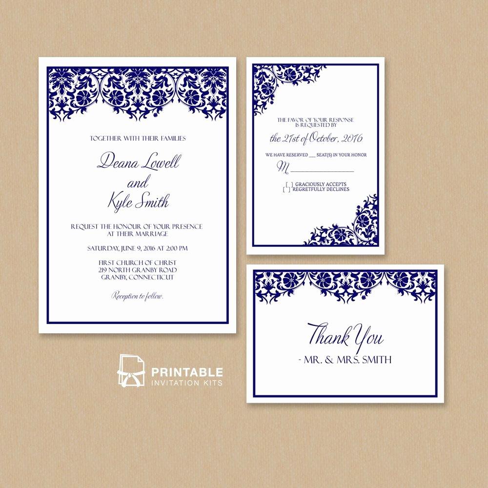 Postcard Wedding Invitations Template Luxury Free Pdf Damask Frame Wedding Invitation Templates – Set