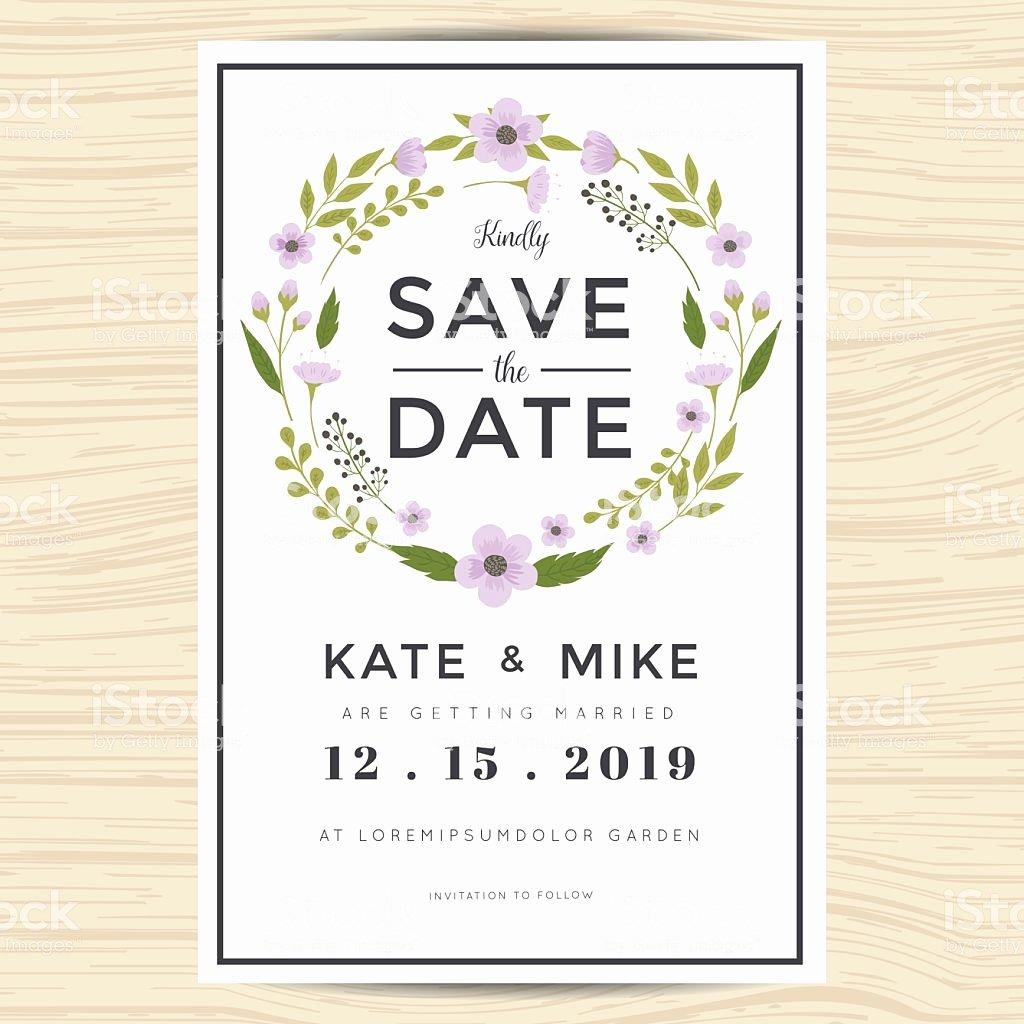 Postcard Wedding Invitations Template Luxury Save the Date Wedding Invitation Card Template with Wreath
