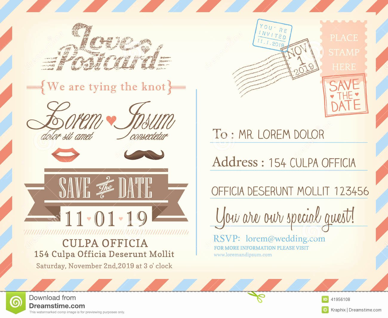 Postcard Wedding Invitations Template Luxury Vintage Airmail Postcard Background Template for Wedding