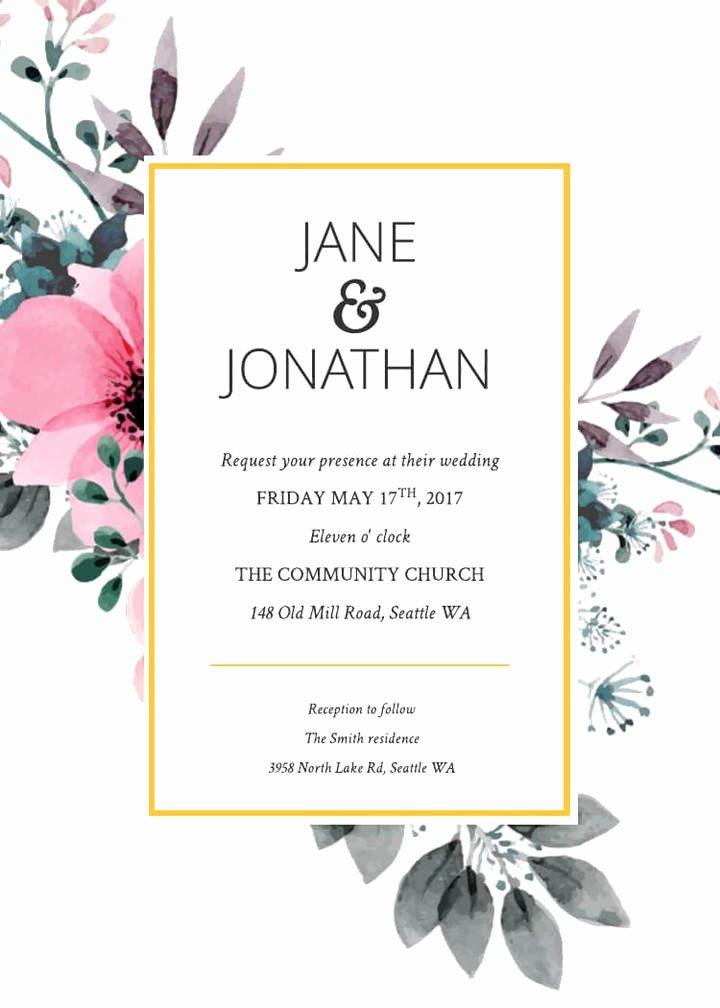 Postcard Wedding Invitations Template New Floral Invitation Template – orderecigsjuicefo
