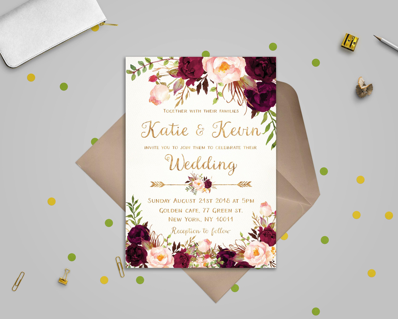 Postcard Wedding Invitations Template New Floral Wedding Invitation Template Wedding Invitation