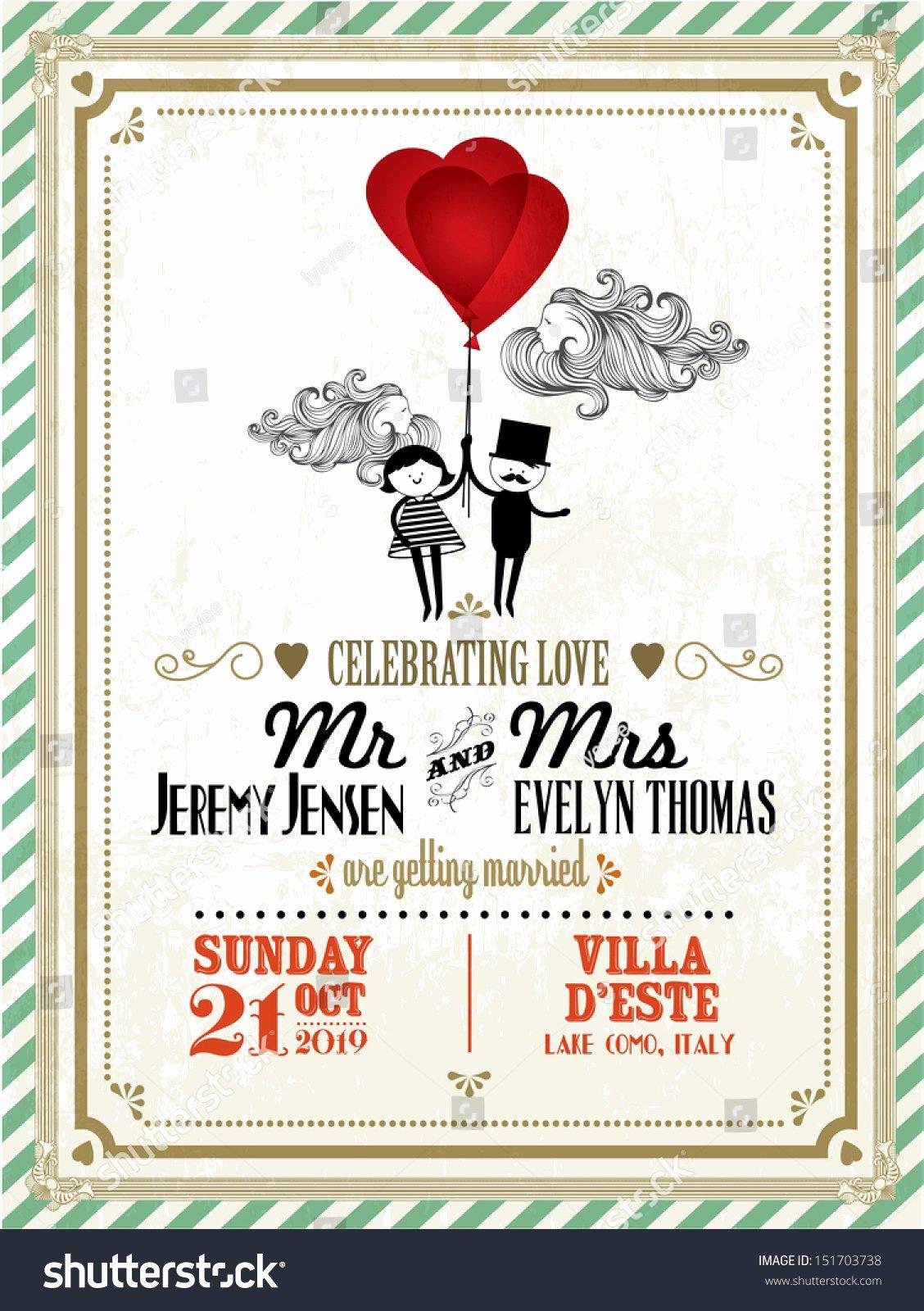 Postcard Wedding Invitations Template New Vintage Wedding Invitation Card Template Boy Stock Vector